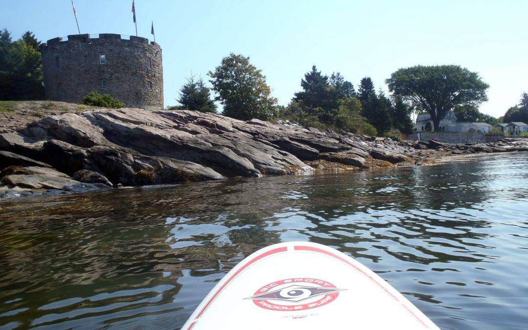 Paddleboarding in Maine with Pogies